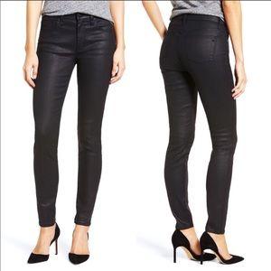 Madewell denim Coated skinny skinny black jeans